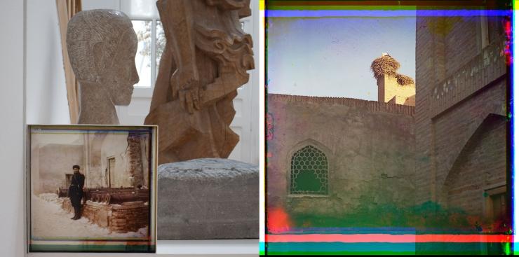 Bukhara - Sentry at the palace, old cannons + stork
