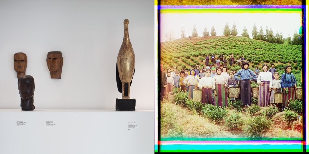 Tête de femme, Oiseau d'or + Greek women - Group of workers harvesting tea