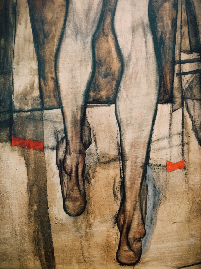 Egon Schiele - Rear view of a female half-nude with cloth 1913