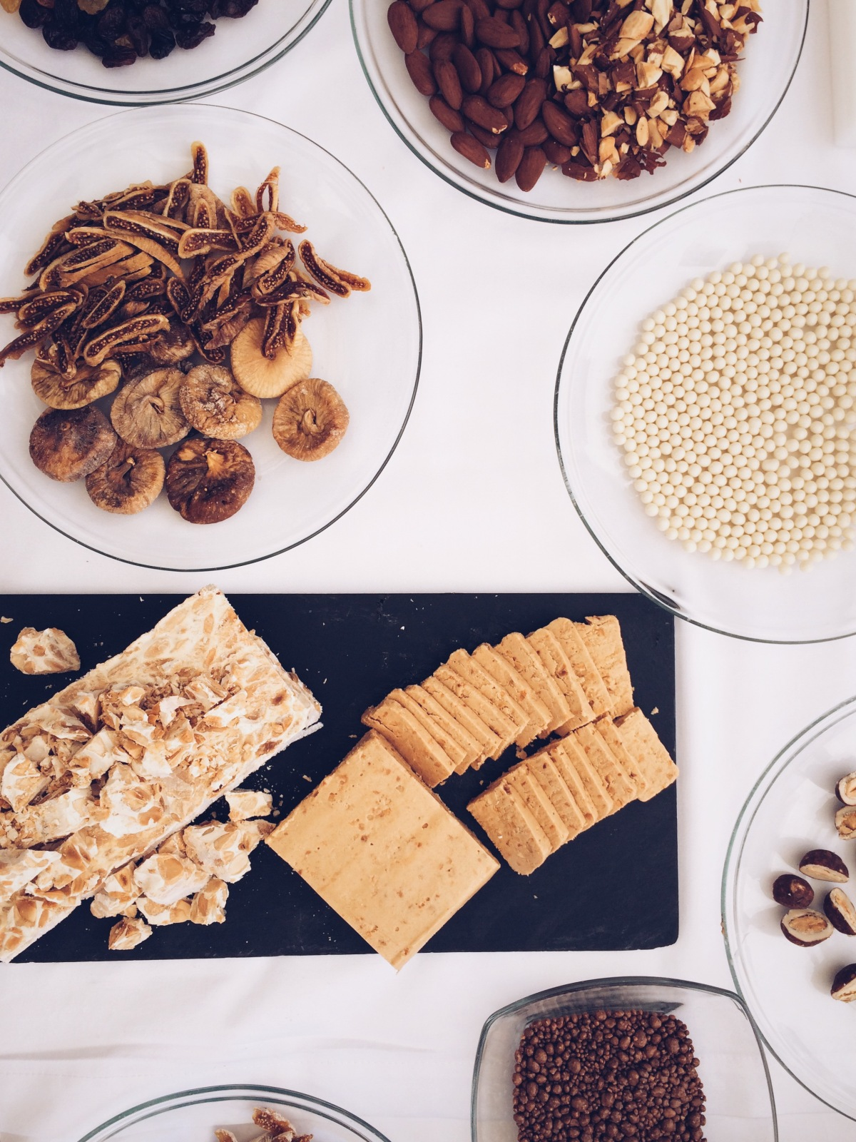 Fruits, nuts, turrón