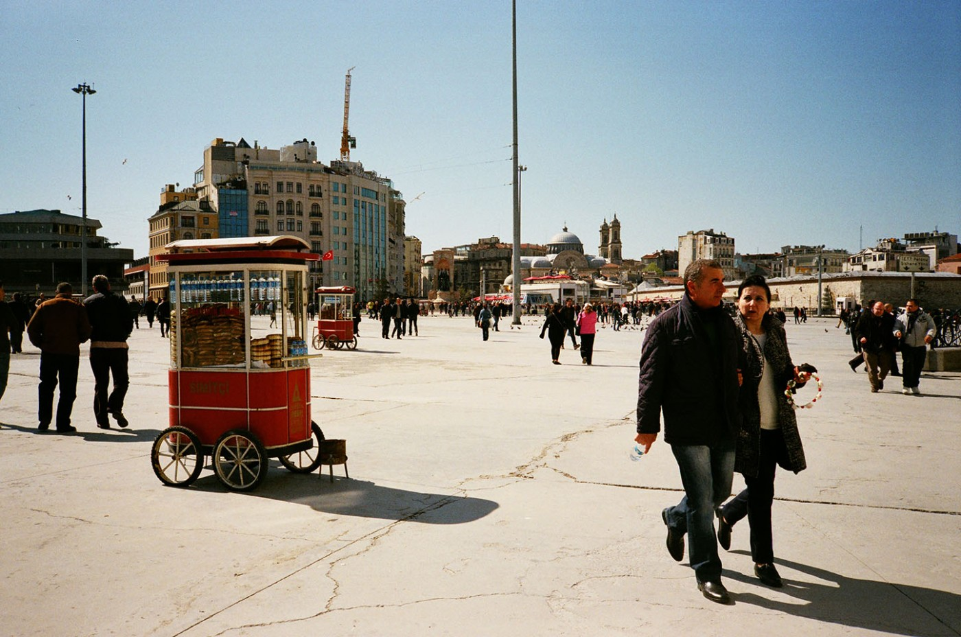 Taksim Square: These ubiquitous red stands selling simit, a traditional Turkish bread ring covered in sesame seeds, can be found all over Istanbul especially in public squares and near major transportation hubs (ferry or bus terminal, metro or train station)