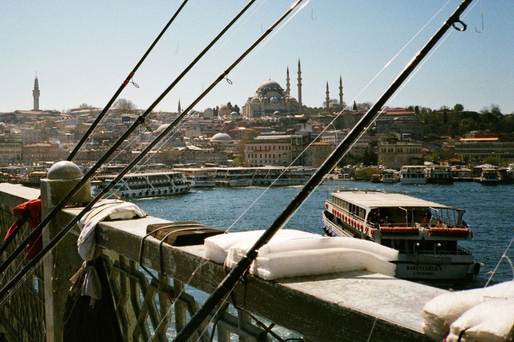 View from Galata Bridge: Istanbul is home to more than 3,000 mosques, including a small handful of imperial mosques which were commissioned by members of the Ottoman royal family. Only the imperial mosques are allowed to have more than one minaret.
