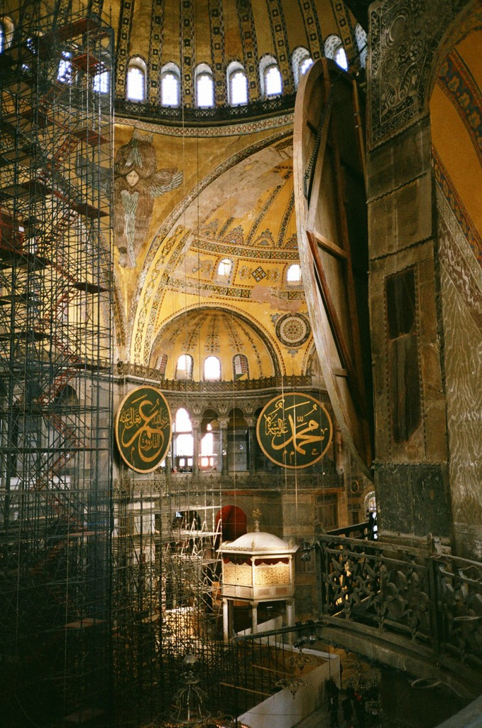 The impressive Hagia Sophia museum was originally built as a Byzantine church before it was transformed into an imperial mosque by the Ottomans. The building is currently undergoing restoration, a big part of which is to recover the original mosaic artwork.