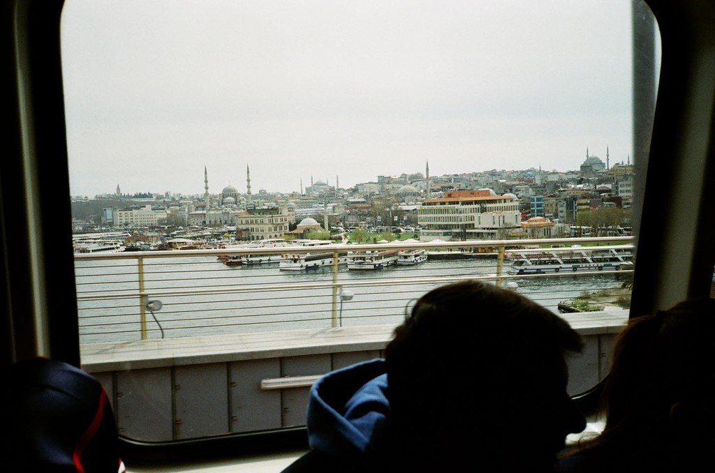 View of the city from the metro as it travels over the Golden Horn