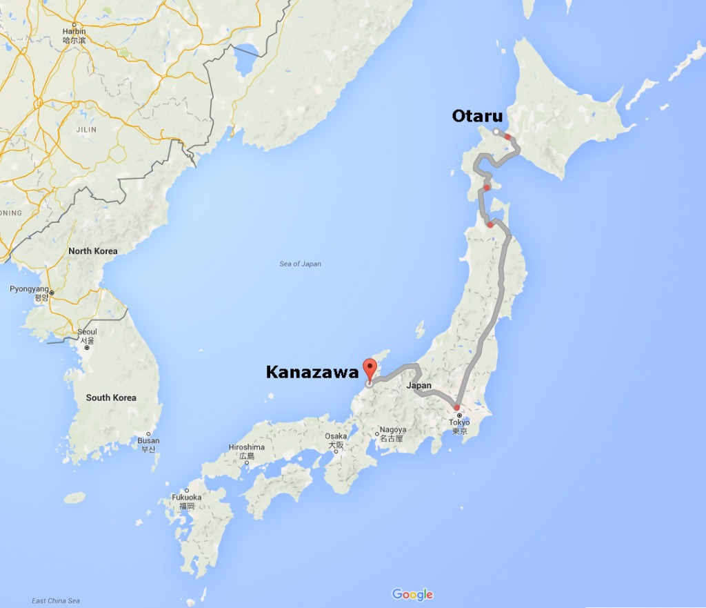 Map of Otaru to Kanazawa by train