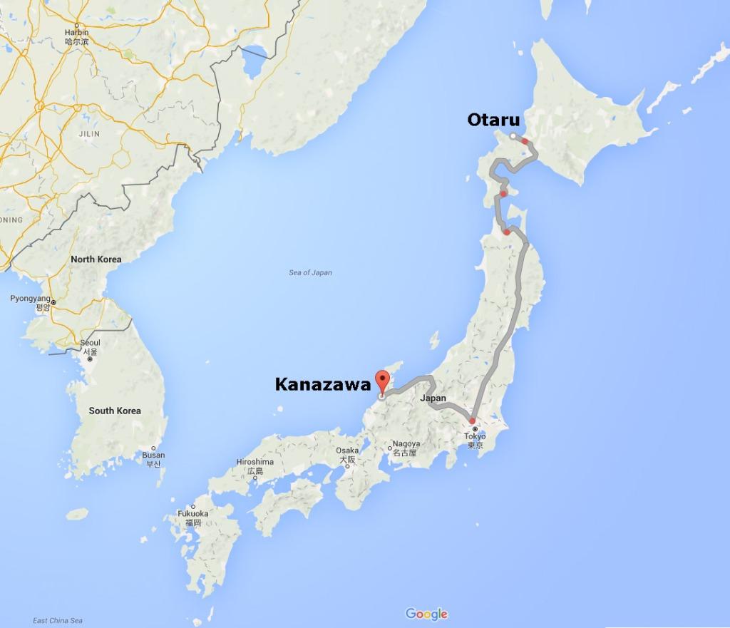 Map of Otaru to Kanazawa by train