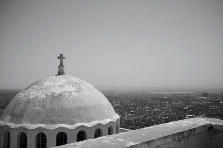 La chapelle de Santa Cruz - view of the city centre of Oran