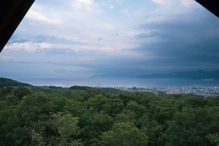 View of Iwanai town from our chalet at Arisu no Sato アリスの里