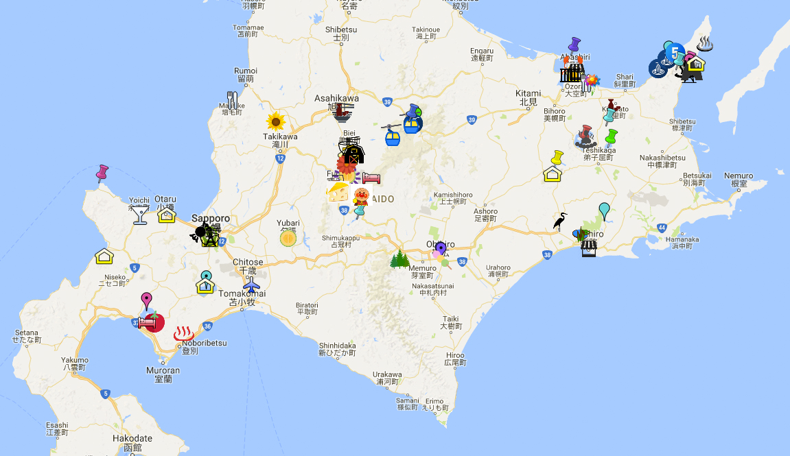 12 days of summer in Hokkaido - Google map copy