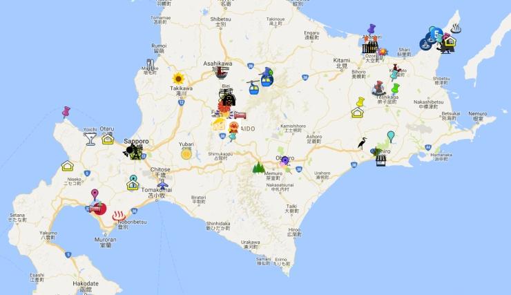 12 days of summer in Hokkaido - Google map copy