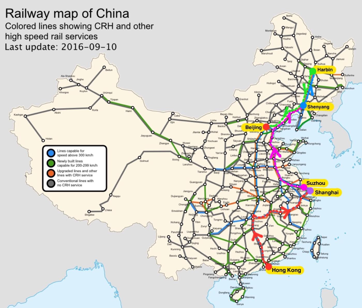 Rail map of China 2016 - marking